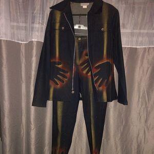 Women designer pants and jacket suit elastic waist